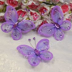 50 Purple Nylon Stocking Butterfly Wedding Party Decoration 5.5CM on Aliexpress.com