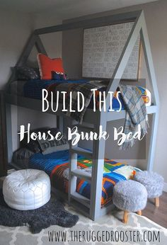 build a house bunk bed, bedroom ideas, diy, how to, painted furniture, rustic furniture