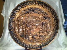 Large Vintage Copper Relief Tray Wall Hanging
