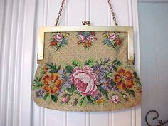 Beautiful Antique Beaded Bag with Pink Roses by TheJewelMystique, $135.00