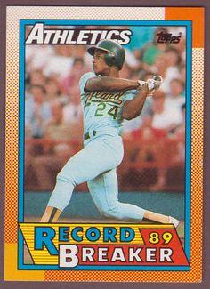 #topps @topps 1990 Topps #7 RICKEY HENDERSON Record Breaker Baseball Records, Baseball Star, Baseball Players, Rickey Henderson, Blue Boots, Trading Cards, Athlete, History, Mlb