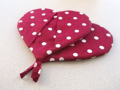 Valentine's day gift Cotton hot pot holder Oven mittens red  white polka dots fabric kitchen gloves  heart mitts Handmade Gift for housewife on Etsy, $12.50