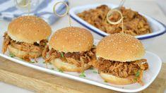Receta Salsa Bbq, Pulled Pork Receta, Crockpot, A Food, Hamburger, Sandwiches, Menu, Ethnic Recipes, Salsa Barbacoa