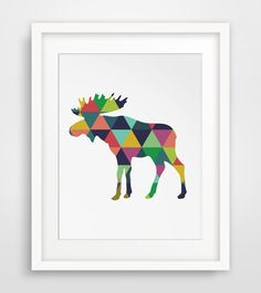 Moose Print Colorful Geometric Wall Art by MelindaWoodDesigns, $5.00