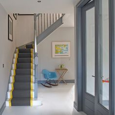 Image result for yellow and charcoal stairs