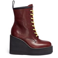 Sacai Foam platform leather combat boots (£805) ❤ liked on Polyvore featuring shoes, boots, red, red boots, military boots, platform boots, red combat boots and punk boots