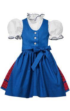 b7be8f768a5bf3 PACHER Klassisches Mädchen-Dirndl mit Bluse von Pacher in Mittelblau-Rot.  Mit weißer