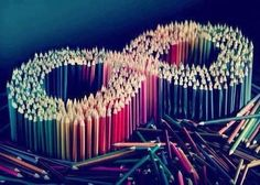 Infinity sign made of colored pencils. Infinity Love, Infinity Symbol, To Infinity And Beyond, Infinity Signs, Diy Wedding Flowers, Flower Bouquet Wedding, You're Beautiful, Colorful Drawings, Colour Images