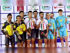 Gold medallist Iranian team, silver medallist Malaysian team and bronze medal…