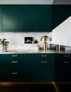 2019 Dulux Colour Awards finalists: Blue & green reign - The Interiors Addict Kitchen Furniture, Kitchen Dining, Kitchen Cabinets, Colorful Furniture, Cool Furniture, Furniture Design, Luxury Furniture, Furniture Buyers, Furniture Stores