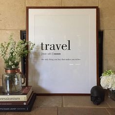 Travel Definition Quote Canvas Poster Print