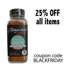Get a set for your foodie friends or stock up for the holidays! Receive 25% off everything. Use coupon code BLACKFRIDAY www.alejandrasnaturalfoods.com