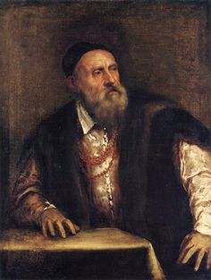 Titian - Self-portrait.  (ca. 1488–1576)  Tiziano Vecelli known in English as Titian was an Italian painter, the most important member of the 16th-century Venetian school.