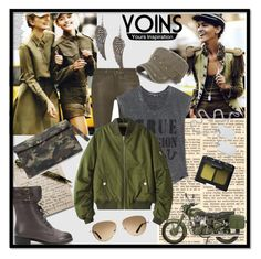 """Yoins - Military Quilted Bomber Jacket!"" by sirena39 ❤ liked on Polyvore featuring rag & bone, True Religion, TOMS, NARS Cosmetics and Bullet"