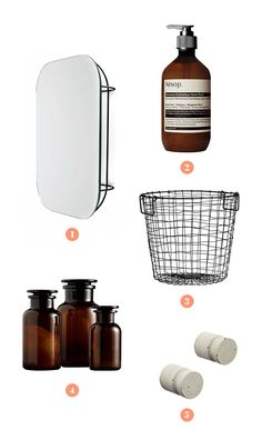 The five pieces:  1. Horne Cage Mirror  2. Aesop Reverence Hand Wash  3. H&M Wire Basket  4. Restoration Hardware Amber Glass Pharmacy Bottles  5. CB2 Cast Cement Pillar Drawer Pulls