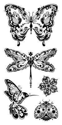 Pretty tattoo ideas. Dragonfly - butterfly - hummingbird - ladybug - black and grey