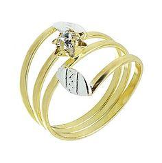 Anel de fio folheado a ouro com pedra de strass e aplique de prata