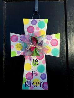 Easter cross door hanger,easter bunny door hanger,easter door decor,easter wreath,door hanger,popular easter door decor,ready to ship by Furnitureflipalabama on Etsy