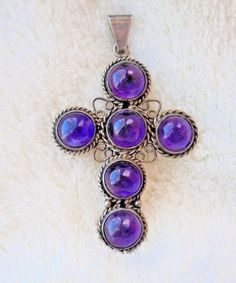 VINTAGE TAXCO MEXICO SIGNED MMC STERLING SILVER AMETHYST CABOCHON CROSS PENDANT #Pendant