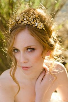 Handmade golden leaves and flowers crown style by mignonnehandmade, $225.00