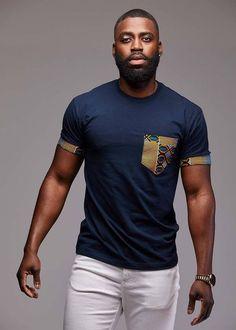 Seun Men's African Print T-Shirt with Pocket (Blue/Tan/Navy) African Shirts For Men, African Attire For Men, African Clothing For Men, African Print Fashion, Africa Fashion, African Wear, African Dress, African Prints, African Fashion For Men