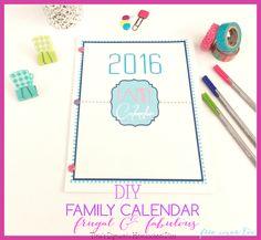 DIY Family Calendar. Not only beautiful but frugal @ Tina's Dynamic Homeschool Plus