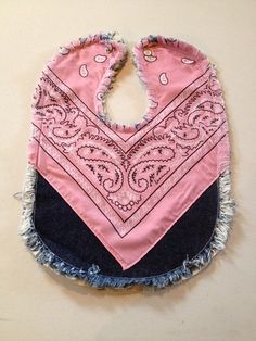 Frayed denim bandana baby bib. Snap closure Completely machine washable and will develop more of the frayed look with the next few washings. one washing already done to start the frayed look and supe