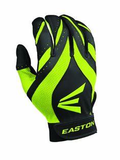 Youth Easton Synergy II Fastpitch Batting Gloves (Youth Large, Black/Optic)