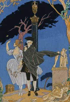 Illustration by George Barbier, Fêtes Galantes by Paul Verlaine, Watercolour, H. Piazza et Cie, Paris. Engraved on wood and enhanced with gold and silver by hand. Illustration Française, Paul Verlaine, Inspiration Art, Historical Art, Old Postcards, Rococo, Art Deco Fashion, Oeuvre D'art, Oeuvres