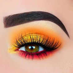 simple colorful eye makeup make up ARIANNE DREESSEN. () SUMMER SUNSET using nice palette - eye makeup with yellow, pink, orange - colorful warm-toned Orange Eye Makeup, Yellow Makeup, Bright Eye Makeup, Colorful Eye Makeup, Simple Eye Makeup, Makeup For Green Eyes, Eye Makeup Designs, Eye Makeup Art, Eyeshadow Makeup