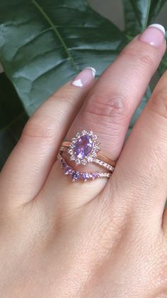 One of our One of A Kind Engagement Rings, an Oval Natural Purple Sapphire set in Plain Rose Gold Band, paired with a Pave Diamond Band and our Curved Purple Sapphire in Pave Band below. See more from our One of A Kind collection by La More Design here! Beautiful Wedding Rings, White Gold Wedding Rings, Tanzanite Engagement Ring, Diamond Engagement Rings, Purple Sapphire, Ring Verlobung, Bridal Rings, Rose Gold, Design