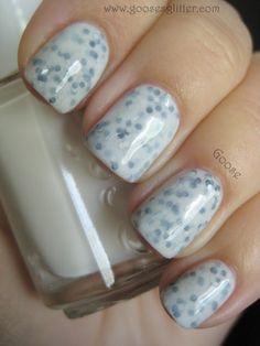 Essie Marshmallow and Claire's Black/Silver Holo glitter