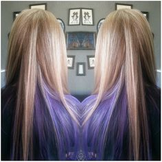 Long Platinum Blonde Highlights with Purple Peek-a-boo - http://sarasotabradentonhairsalon.com/long-platinum-blonde-highlights-with-purple-peek-a-boo/
