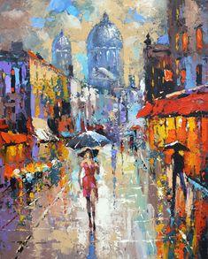 """Under an umbrella"" Modern Art Oil Painting by Dmitry Spiros. 32x24, 80 x 60 cm."
