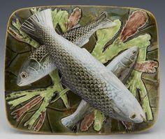 Antique George Jones Majolica Lidded Sardine Dish With Fish C.1876