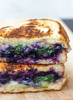 Balsamic Blueberry Grilled Cheese Sandwich 2 slices of bread (I used sourdough) Plenty of white cheese (I used Havarti, but lots of others k...