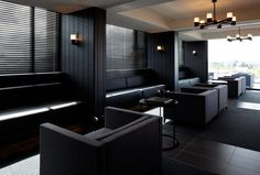 Lounge at the Burbury Hotel, Australia by KRM architects, with a graphic, black design_