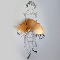 """Eine nette Idee von Giovana De Figueiredo: ein """"plastischer"""" Akkordeonspieler. Stichworte: #Accordion, #Humor, #Player, #Art"""