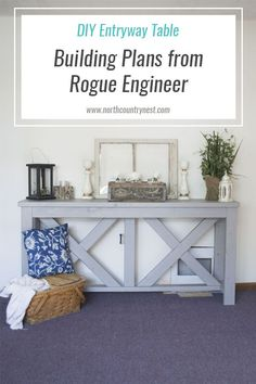 DIY entryway table with plans from Rogue Engineer / diy table / farmhouse table / diy famrhouse decor