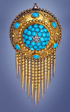 VICTORIAN ETRUSCAN REVIVAL PENDANT BROOCH~  gold fringe pendant brooch with turquoise and star motif.