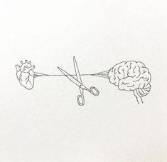Trendy Tattoos, Small Tattoos, Drawing Tips, Drawing Sketches, Brain Tattoo, Human Heart Tattoo, Fox Tattoo, One Line Tattoo, Brain Illustration