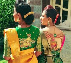 Looking for best green blouse designs for your sarees? Here are 17 chic models that can make your saree look super pretty and voguish. Blouse Back Neck Designs, Best Blouse Designs, Bridal Blouse Designs, Dress Designs, Traditional Blouse Designs, Pattu Saree Blouse Designs, Designer Blouse Patterns, Work Blouse, Fashion Blouses