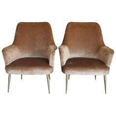 Mid Century Italian Camel Velvet Armchairs with Brass Legs | From a unique collection of antique and modern armchairs at https://www.1stdibs.com/furniture/seating/armchairs/