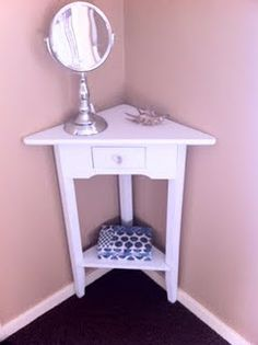 Refinished Corner Table And Mini Vanity