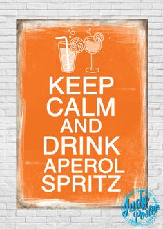 Vintage / Retro Old Style drink aperol poster by Judydesignstore Keep Calm And Drink, Namaste, Vintage Posters, Retro Vintage, Cocktail, Unique Jewelry, Handmade Gifts, Drinks, Store