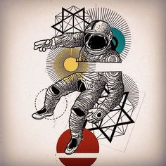 Geometric astronaut tattoo inspiration