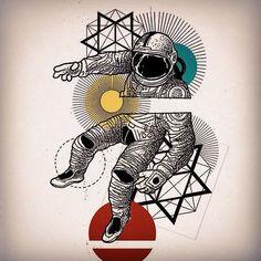 Geometric astronaut tattoo inspiration