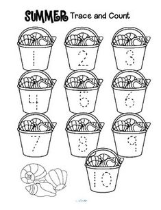 ***FREE***  SUMMER Trace and Count  - Here are three Summer-themed tracing and counting pages for early learners. Count the sets, recognize and trace the numbers, add extra details (crabs, a cherry for each ice cream?) and color if desired.
