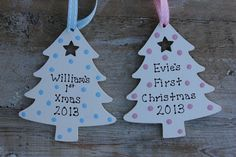Personalised Baby s First Christmas Tree Decoration Wooden Blue Pink Spots £3.50
