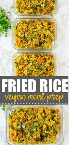 Prep delicious food for the week perfect if yo 2019 Easy Fried Rice Vegan Meal Prep. Prep delicious food for the week perfect if youre on a budget. Gluten free too! The post Easy Fried Rice Vegan Meal Prep. Vegetarian Meal Prep, Vegan Meal Plans, Lunch Meal Prep, Easy Meal Prep, Healthy Meal Prep, Vegetarian Recipes, Easy Meals, Healthy Eating, Eating Vegan